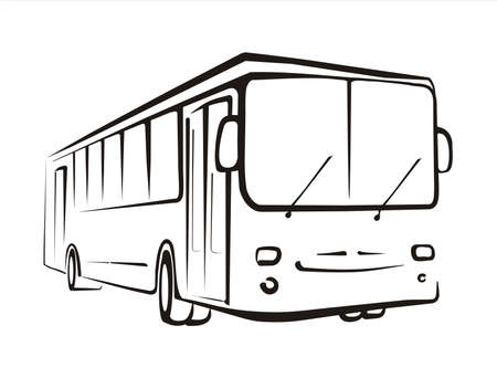 sightseeing tour: bus  concept sketch in black lines Illustration
