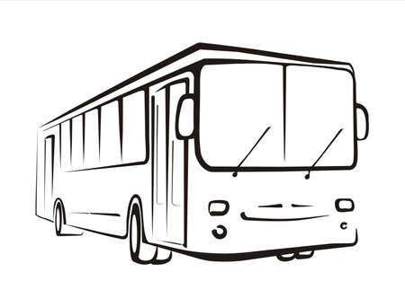mode of transportation: concetto di autobus tracciate in linee nere