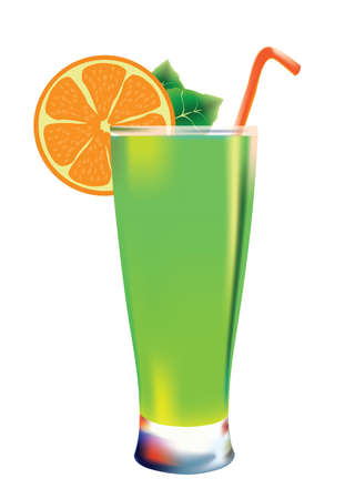 cocktail isolated illustration with orange slice Stock Vector - 8486666