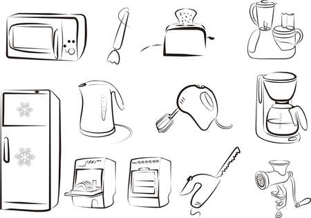 set of kitchen electric goods icons Vector