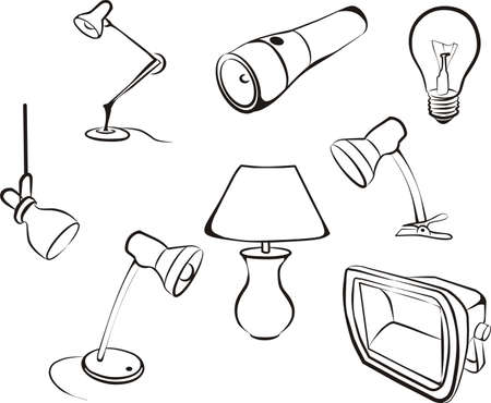 set of electric lamps, light sketch in black lines Stock Vector - 8486663