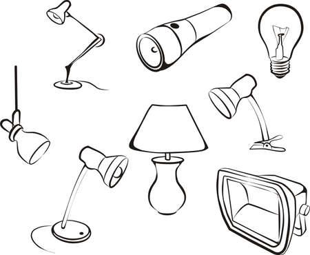 set van elektrische lampen, licht schets in zwarte lijnen Stock Illustratie