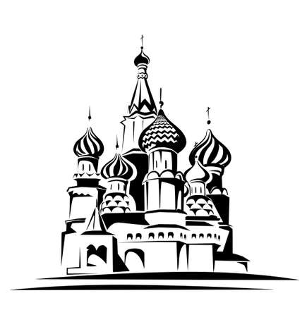 moscow churches: saint basil cathedral vector illustration