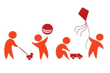 bimbi che giocano: bambini che giocano set di icone in figure semplici Vettoriali