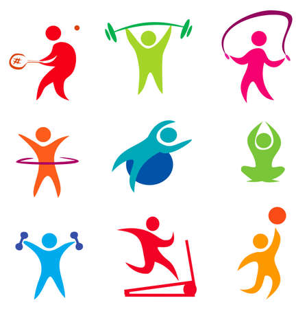 fitness, indoor sport icons of active people Çizim