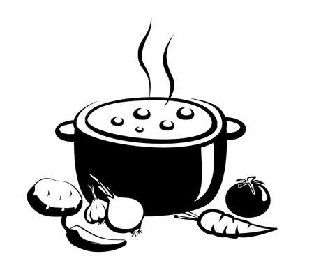 hot soup vector illustration, food and ingridients