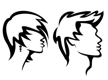 haircuts: set of portraits with haircuts, vector illustration Illustration