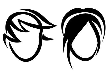man long hair: set of portraits with haircuts, vector illustration Illustration