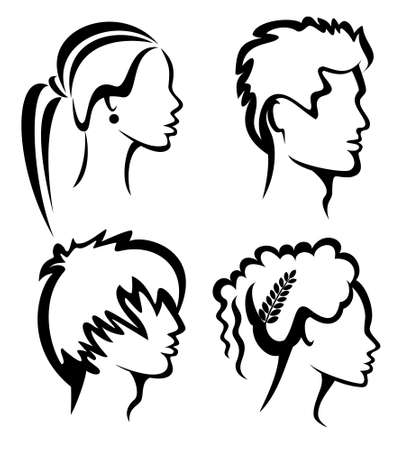 set of people protraits with haircuts, hand drawn silhouettes Illustration