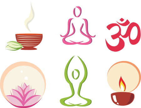 yoga, meditation concept set of icons in simple figures Vector