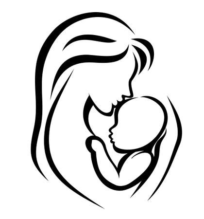 baby care: mother and baby symbol, hand drawn silhouette