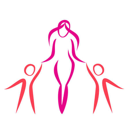 mother and twins walking, vector symbol in simple lines Vector