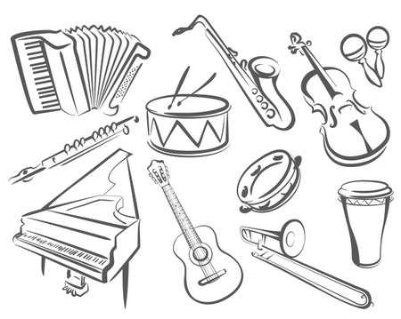 bass drum: musical instruments set of icons in simple lines