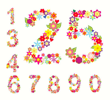 null: set of numbers in floral style