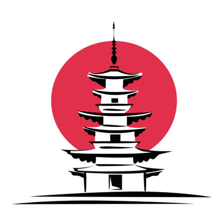 pagoda, sunrise, Japan  architecture symbol