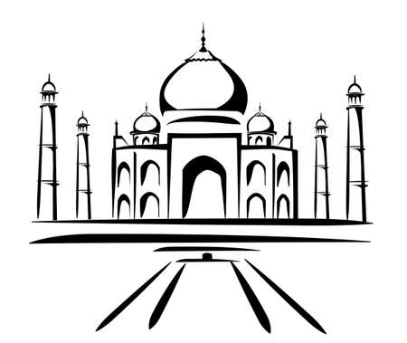 monument in india: taj mahal vector illustration, symbol in black lines