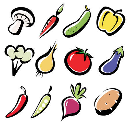 set of vegetables icons, multicoror vegetables symbol Vector