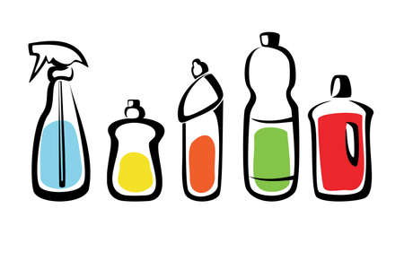 home products: set of bottles with washing agents isolated vector illustration Illustration
