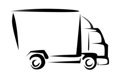 truck, cargo, delivery concept, illustration in simple lines  Vector