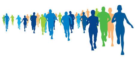 Los corredores de maratón, ilustración de un atletas corriendo Foto de archivo - 22336448