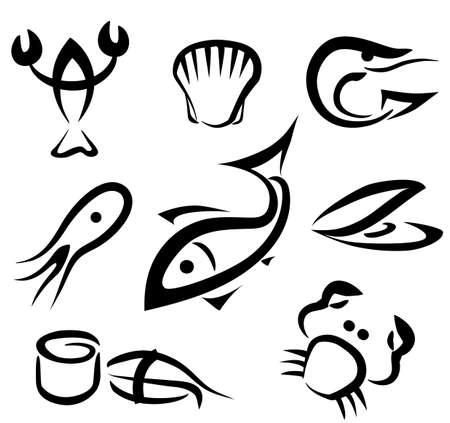 海の食品のシンボル、黒い線でシンプルなアイコンの大きなセット