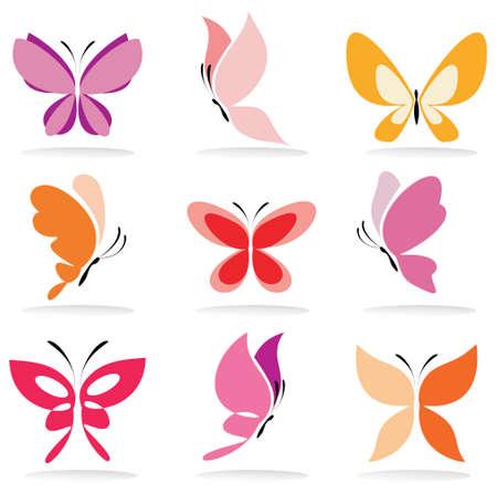 蝶のアイコンは、分離されたベクトルのイラストのセット