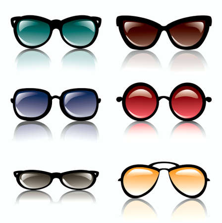 glamur: Sun glasses set of icons isolated vector illustration