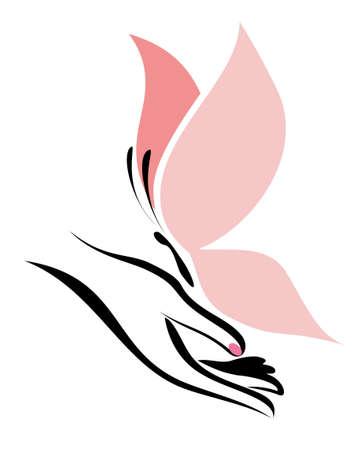 mariposas volando: la mano y la mariposa, aislado símbolo vector