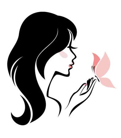 donna farfalla: donna con farfalla, concetto di cura del corpo Vettoriali