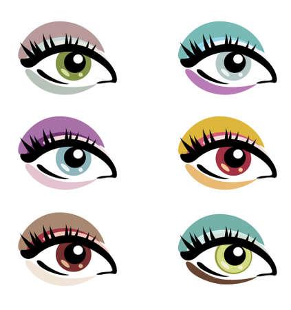 brown eyes: ojos del maquillaje del sistema de símbolos vectoriales