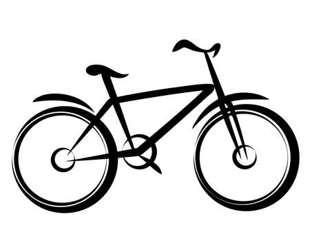 absorber: mountain bike, bicycle silhouette in simple black lines