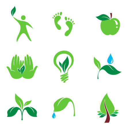 set of nature and orgaic vector icons, bio and environment concept  Vector