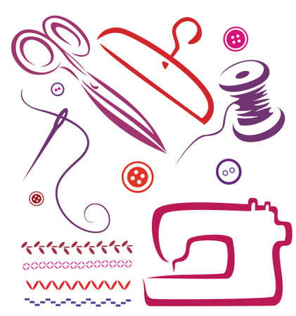 knutsel spullen: naai gereedschappen en voorwerpen set, vector illustratie in eenvoudige lijnen Stock Illustratie