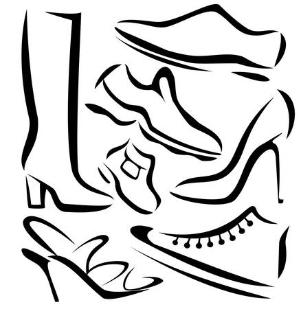 set of shoes sillhouettes, vector sketch in simple black lines Vector