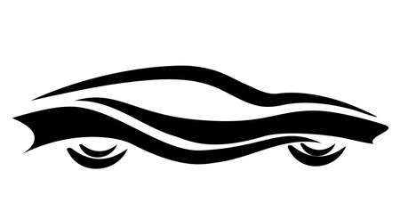 flown: stylized car symbol, tattoo isolated vector illustration