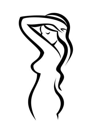 figure féminine, vecteur silhouette dans de simples lignes noires