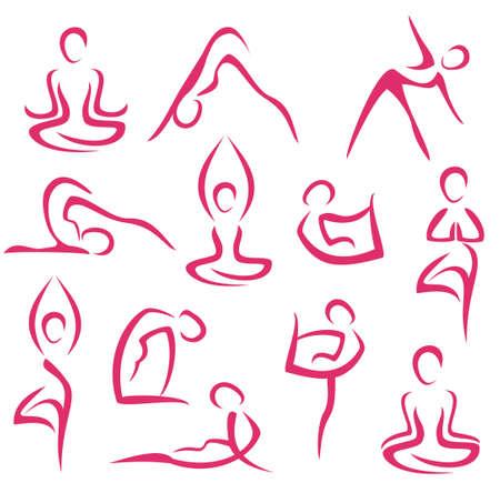 ヨガ、ピラティスのシンボルの大きなセット  イラスト・ベクター素材