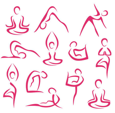 slim women: big set of yoga, pilates symbols