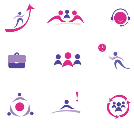 handclasp: buisness concept set of vector icons Illustration