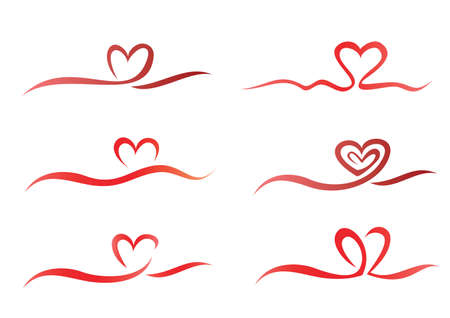 ribbon vector set: Heart from ribbon set of vector symbols  Illustration