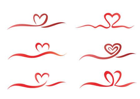 Heart from ribbon set of vector symbols Stock Vector - 22336542