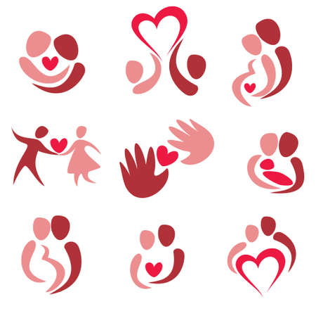 love, wedding, set of couple in love icons, isolated vectors