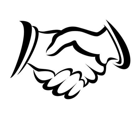 shake hand: handshake symbol, vector sketch in simple lines
