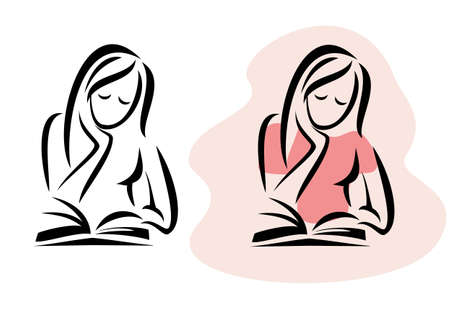 woman reading book: girl reading the book, vector illustration Illustration