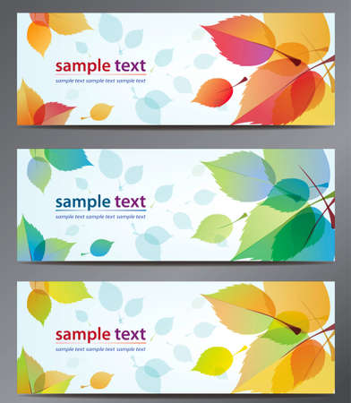 autumn leaves: autumn leaves vector background brochure template. Set of floral cards  Illustration