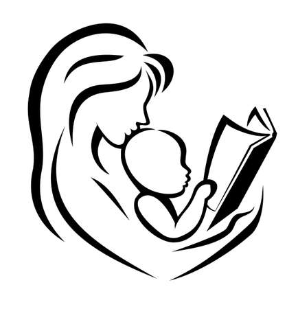 mother and child: mother and child reading the book, vector illustration