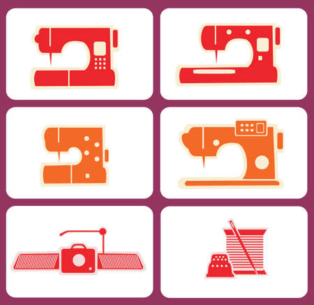 sewing machines: sewing machines, overllock etc., sewing tools vector silhouettes Illustration
