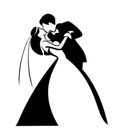 fiance: newlyweds, kissing couple, vector illustration Illustration