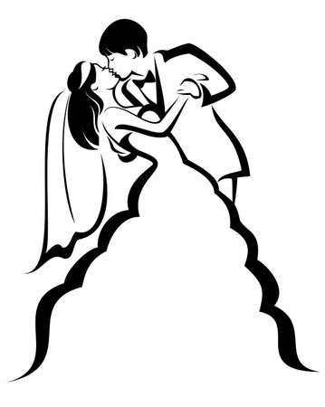 newlyweds: newlyweds, kissing couple, vector illustration Illustration