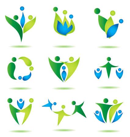 glückliche Familie Icons Sammlung vielfarbig in einfachen Figuren